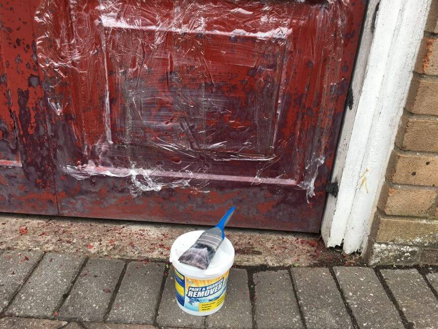 Remove paint from metal doors
